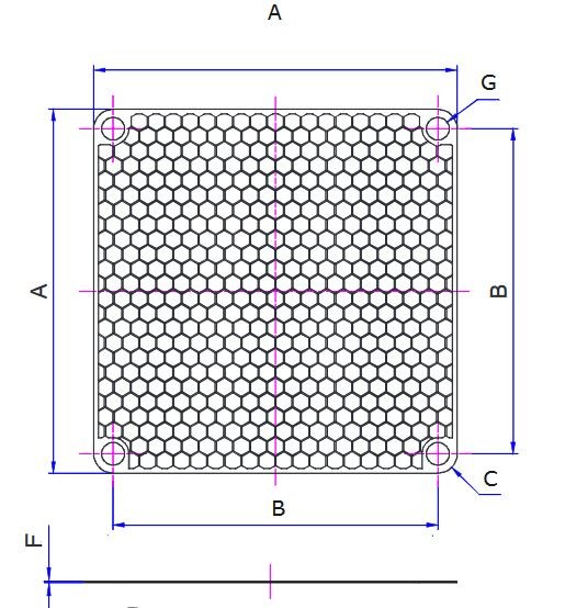 EMV-Abschirmblech für Lüfter 120x120mm