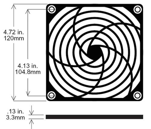 Kunststoffschutzgitter (Flach) für Ventilatoren, 120x120mm