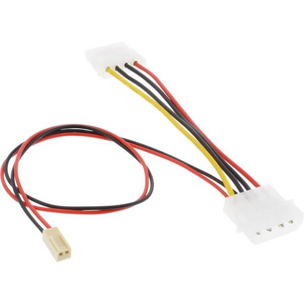 "Mainboard Adapterkabel, 2pol Molex Buchse an 5,25"" Y-Doppelstecker, 0,3m"