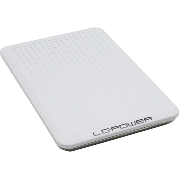 """Gehäuse 6,35cm (2,5""""), USB 2.0, Alu, LC-Power, LC-PRO-25WU, für SATA-HDD, weiß/chrom"""