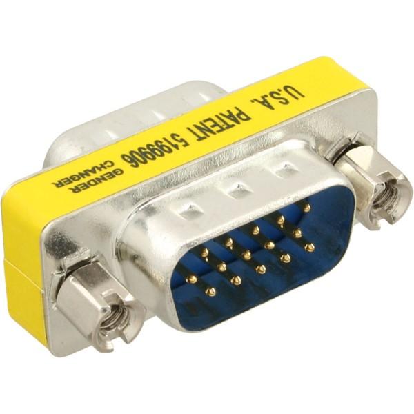 Mini-Gender-Changer, 15pol HD (VGA), Stecker / Stecker