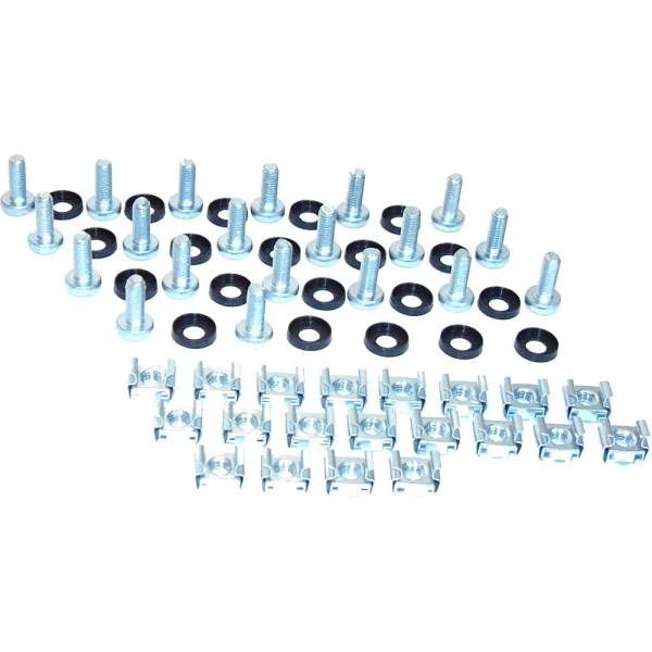 Käfigmutternset, 20x Käfigmuttern, 20x Unterlegscheiben, 20x Linsenkopfschraube, RAX-MO-X09-X1, RAX-MO-X09-X1