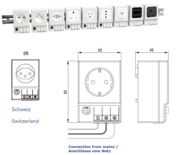 Schaltschrank-Steckdose SD 035 (Schweiz (3)) ohne Sicherung.