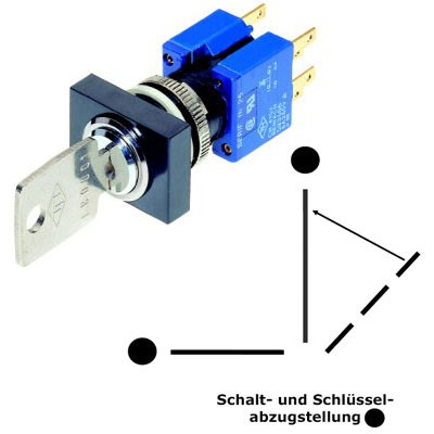 TH25 3-Stellungsschlüsselschalter KABA MICRO D=16,2mm Schutzart: IP40