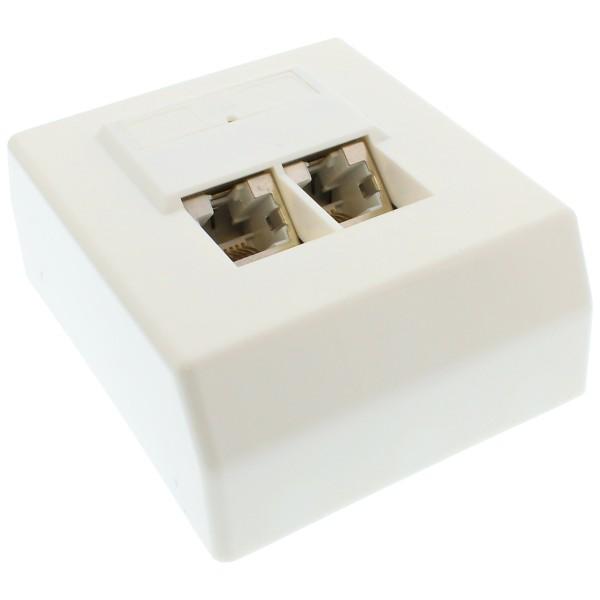Cat.5e Anschlussdose, AP 2x RJ45 Buchse, RAL 9010, weiß