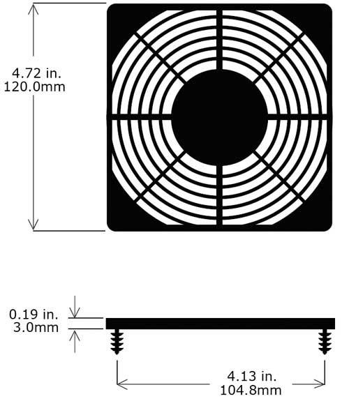 Kunststoffschutzgitter Flach/Snap-on für Ventilatoren 120x120mm