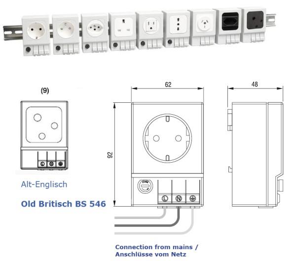 Schaltschrank-Steckdose Alt-Britisch (BS546) (ohne Sicherung)  SD 035 AC 250 V