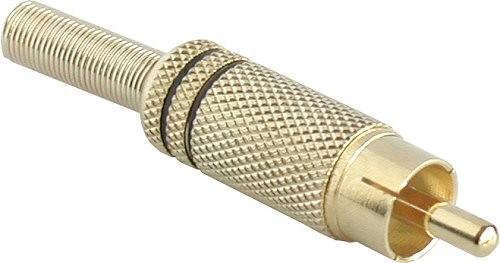 Cinchstecker Lötversion Metall vergoldet 2 schwarze Ringe für 6mm Kabel 11 Stk.