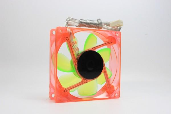 UV LED Case Fan, Lüfter, Orange, Rotor Grün, 80x80, 12V DC