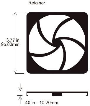 Schutzgitter, Retainer for 90mm filterkits 90x90xmm, plastic UL94-V0