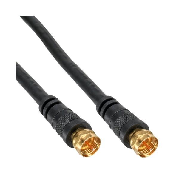 SAT-Anschlusskabel, 2x geschirmt, 2x F-Stecker, >85dB, schwarz, 1m