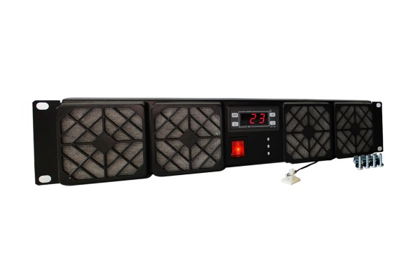 2HE Rackkühler, 4x 80x25mm Lüfter, Thermostat, 230V AC, ~144m³/h