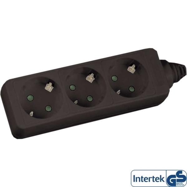Steckdosenleiste, 3-fach Schutzkontakt, 5m, schwarz