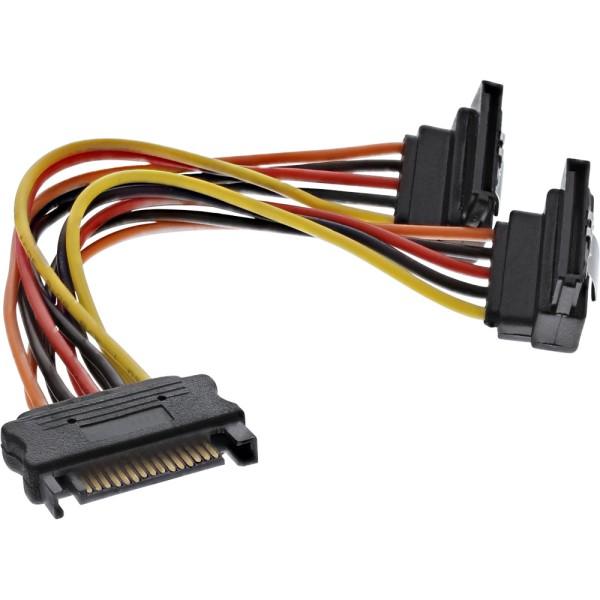 SATA Strom-Y-Kabel, SATA Buchse an 2x SATA Stecker gewinkelt, mit Sicherheitslaschen, 0,15m