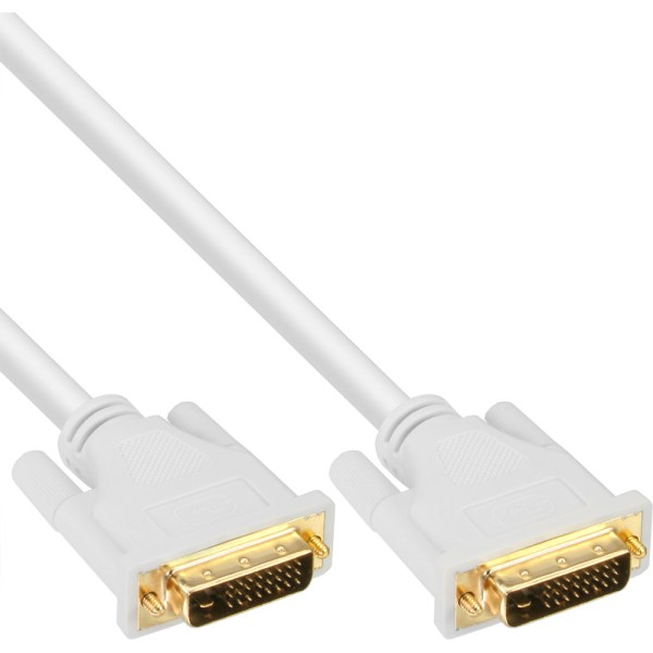 DVI-D Kabel, digital 24+1 Stecker / Stecker, Dual Link, weiß / gold, 2m