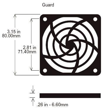 Kunststoffschutzgitter für Ventilatoren, 80x80mm