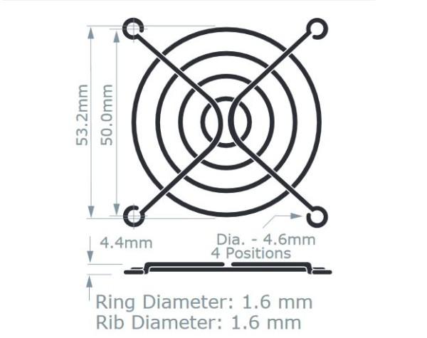Metall-Schutzgitter für Lüfter, 60x60mm, Schwarz