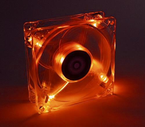 Lüfter, Axial, 12V DC, LED, orange, 80x80x25mm, 50 Stück
