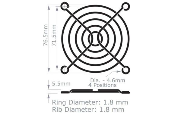 Metall-Schutzgitter für Lüfter 80x80mm