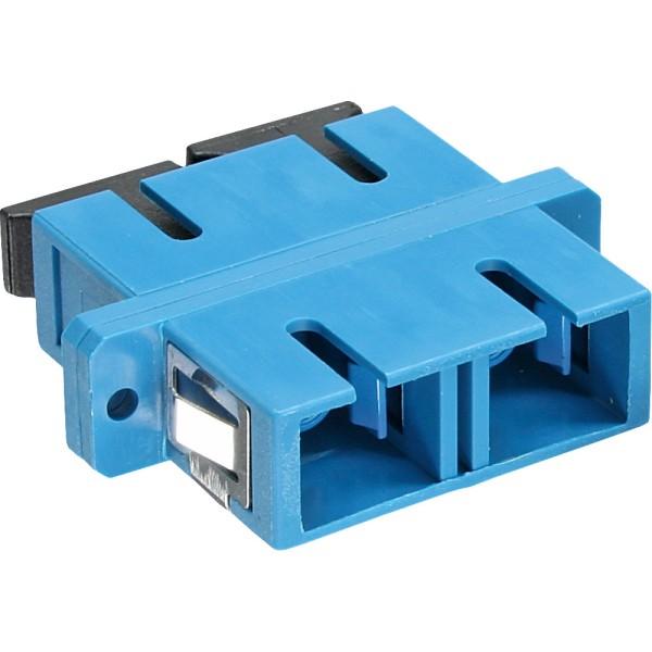 LWL Kupplung, Duplex SC/SC, singlemode, blau, Keramik-Hülse, zum Einbau