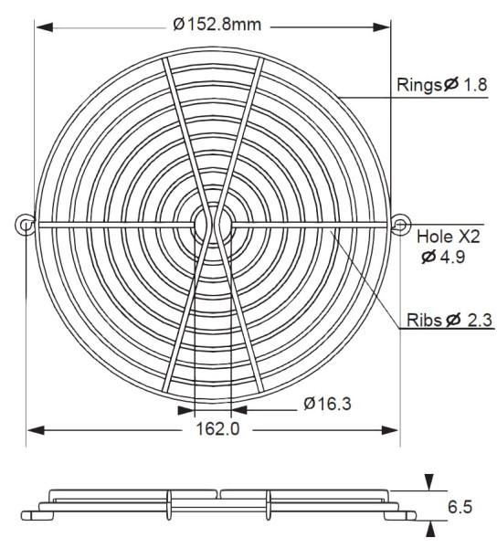 Metall-Schutzgitter für Lüfter Ø = 150mm