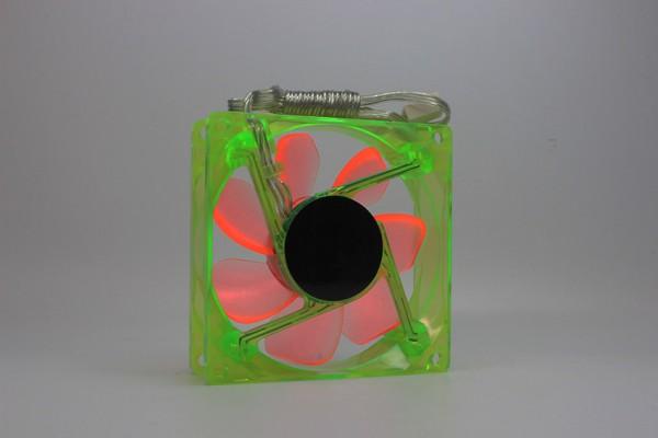 UV LED Case Fan, Lüfter, Grün, Rotor: Orange, 80x80, 12V DC