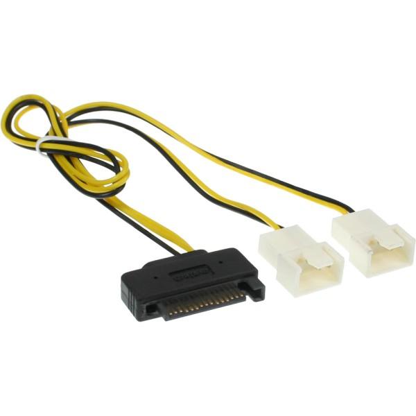SATA Strom-Y-Kabel, SATA Buchse an 2x Lüfter (2pol) Stecker, 0,3m