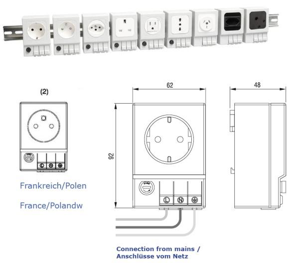 Schaltschrank-Steckdose SD 035 Frankreich/Polen (2) mit Sicherung