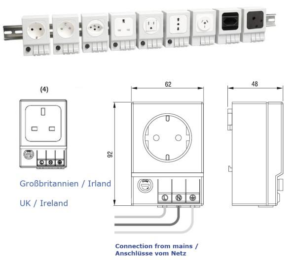 Schaltschrank-Steckdose SD 035 (Großbritannien/Irland (4) mit Sicherung