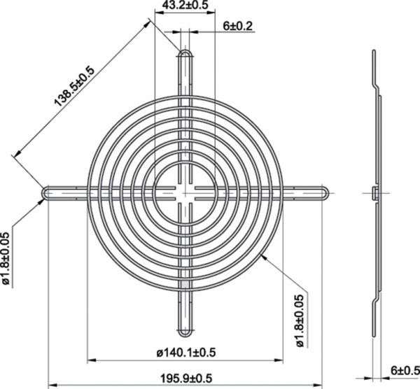 Metall-Schutzgitter für Lüfter Ø = 160mm