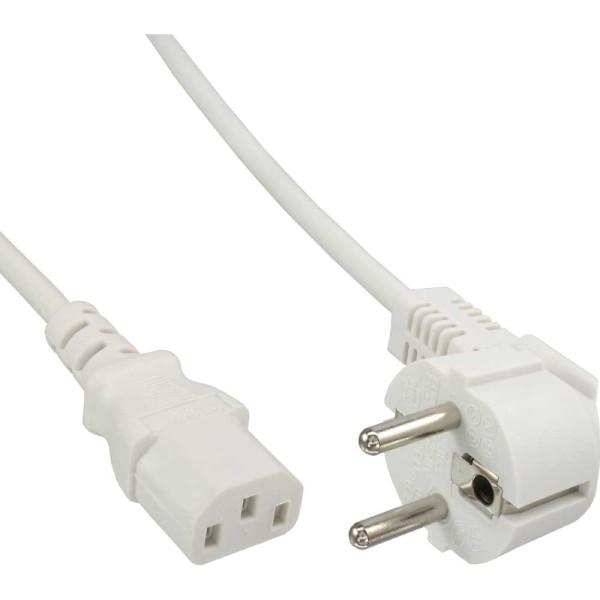 Netzkabel, Schutzkontakt gewinkelt auf Kaltgerätestecker C13, 1,8m, weiß