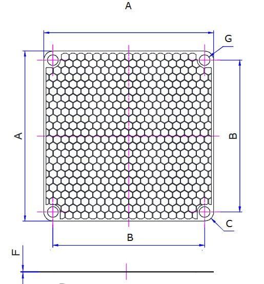 EMV-Abschirmblech für Lüfter 60x60mm