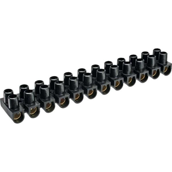 Lüsterklemme 16mm², 12er Reihe, schwarz, 10 Stück
