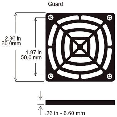 Kunststoffschutzgitter für Ventilatoren, 60x60mm
