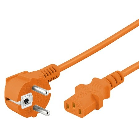 Netzkabel, Schuko abgewinkelt auf Kaltgerätestecker, 2m, orange