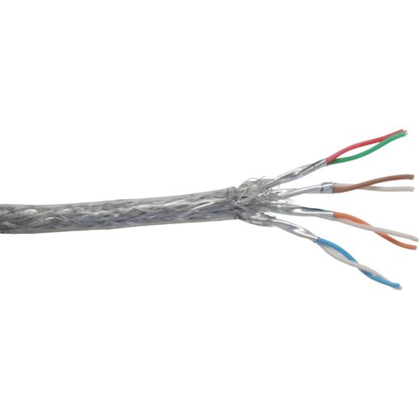 Patchkabel Cat.6 S/FTP (PiMf), transparent, AWG27, PVC, CU, 100m