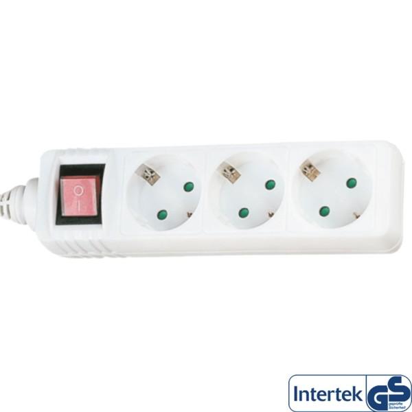 Steckdosenleiste, 3-fach Schutzkontakt, mit Schalter, 3m, weiß