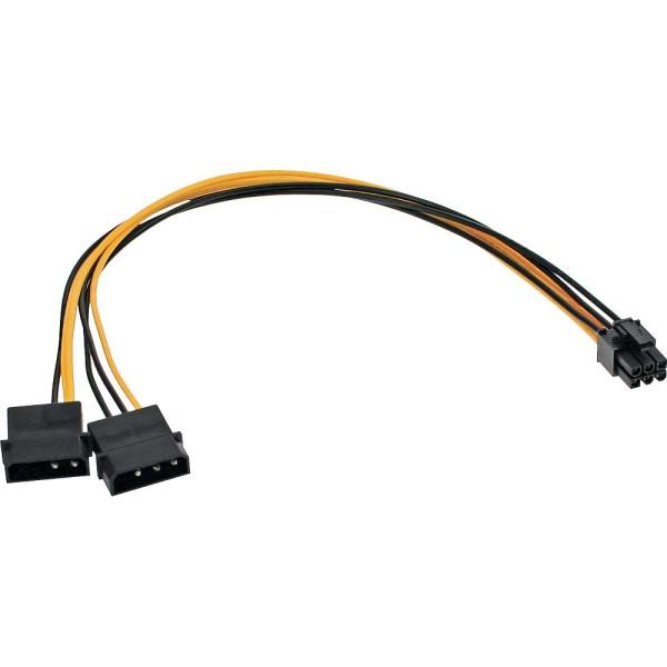 Stromadapter intern, 2x4pol zu 6pol für PCIe (PCI-Express) Grafikkarten