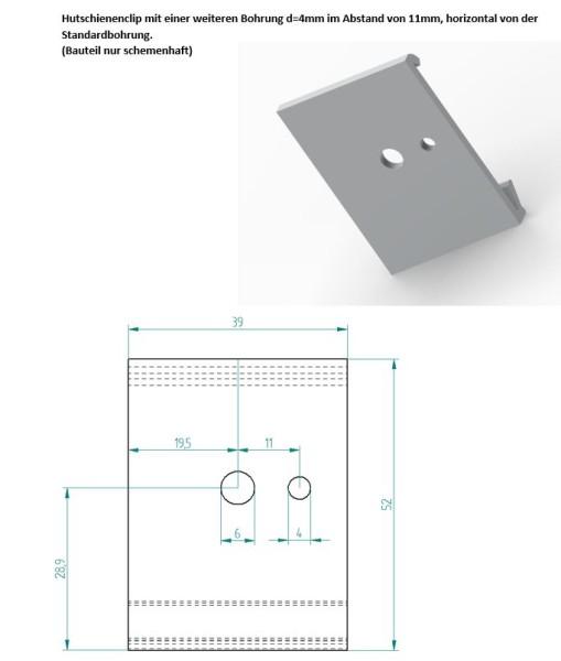 Hutschienen Clip Alu, 39mm breit, Bohrung Ø = 6mm + 4mm