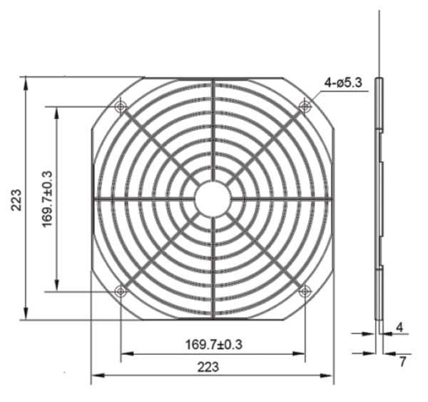 Kunststoffschutzgitter für 225er Ventilatoren