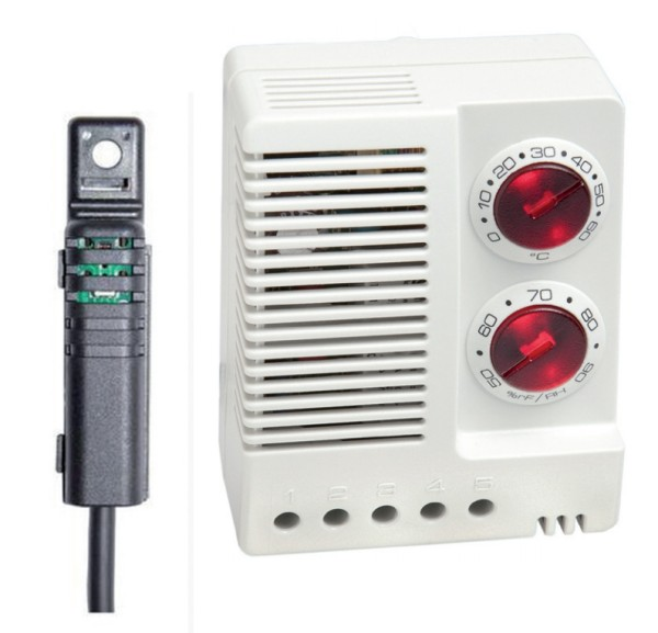 Elektronischer Hygrotherm ETF 012 ext. Sensor 1 m DC 24-48 V, 0 - +60 °C, 50-90 % rF