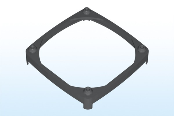 Lüftermanschette für 80x80mm Lüfter, Plattenstärke 0,75-1,25mm