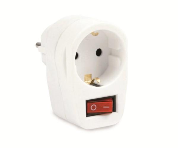 Schutzkontakt-Zwischensteckdose mit Schalter 16 A weiß