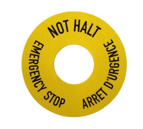Klebefolie gelb Ø=43mm schwarz bedruckt für Ø=16,2mm Ausschnitt