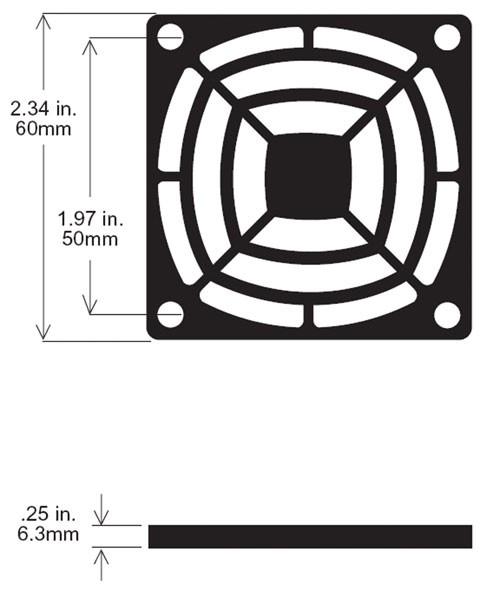 Kunststoff-Schutzgitter (UL94-VO) für Lüfter, 60x60mm