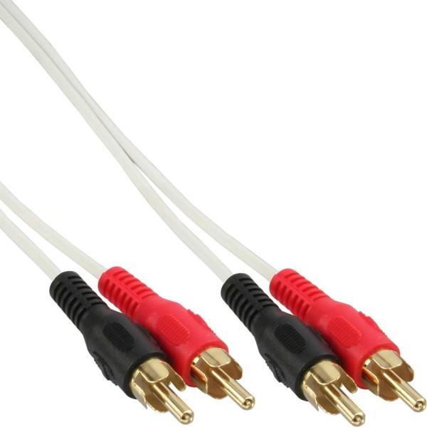 Cinch Kabel, 2x Cinch, Stecker / Stecker, weiß / gold, 3m