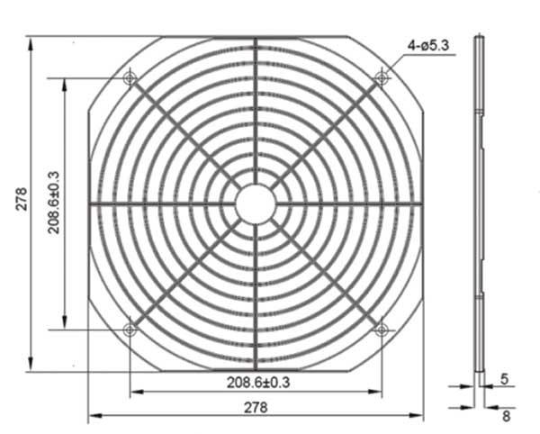 Kunststoffschutzgitter für 280er Ventilatoren