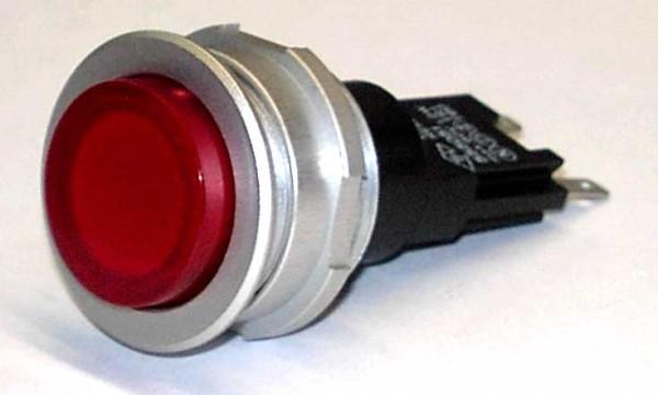 TH25 Taster, D = 25mm, Aluminiumfrontring schwarz, Steckanschluss.