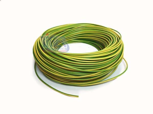Drahtlitze 1x0,5mm², grün-gelb, Rolle m. 100m, H05V-K