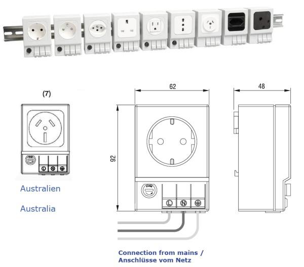 Schaltschrank-Steckdose Australien (ohne Sicherung)  SD 035 AC 240 V